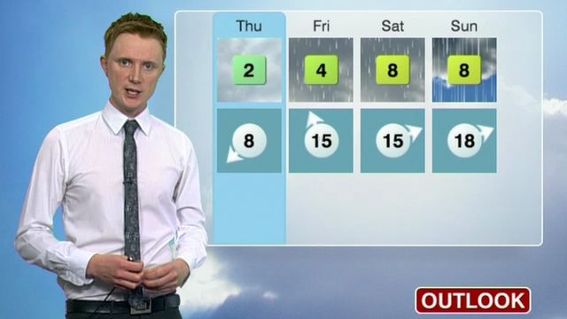 Owain Wyn Evans gives Thursday's forecast for Wales