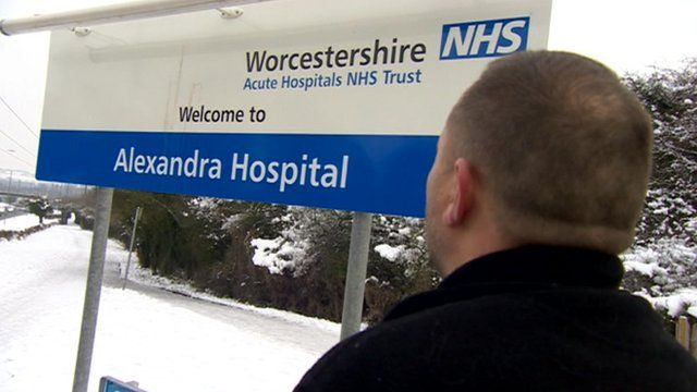 Alexandra Hospital sign in the snow