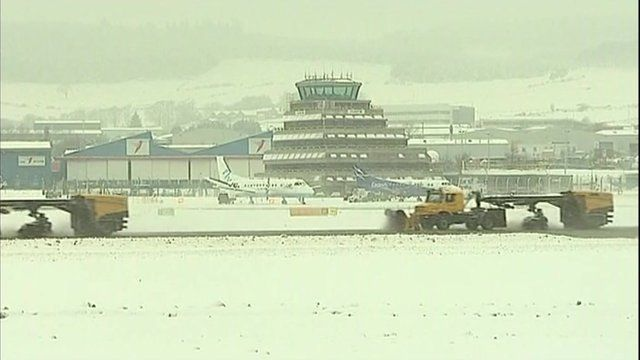 Snow ploughs at Aberdeen airport