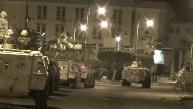 Tanks on the streets in Suez