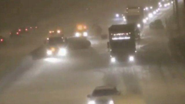 Traffic on M6 in heavy snowfall