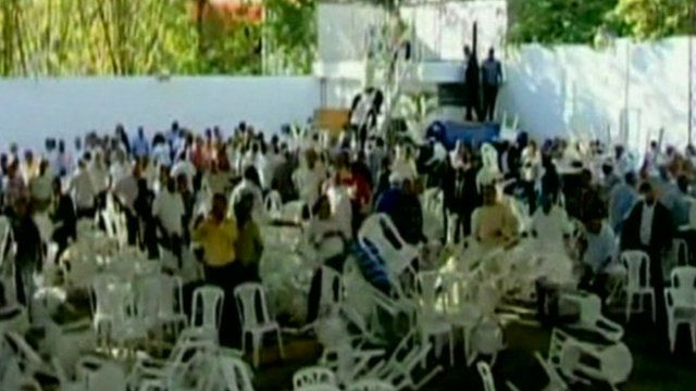 Chairs being thrown at Dominican Revolutionary Party HQ
