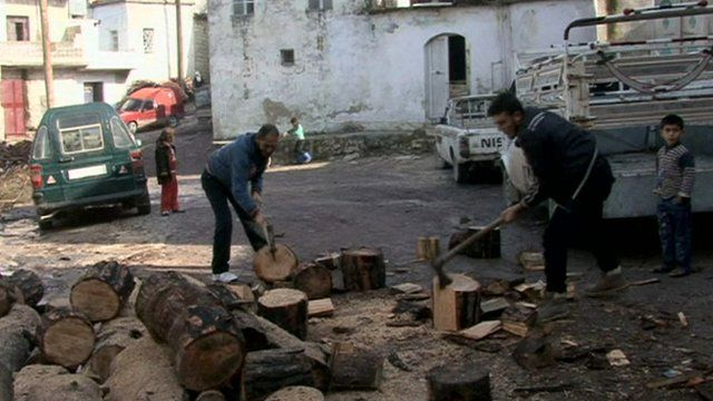 Syrians chopping wood