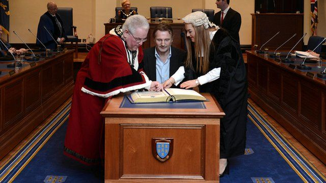 Liam Neeson receiving the Freedom of the Borough