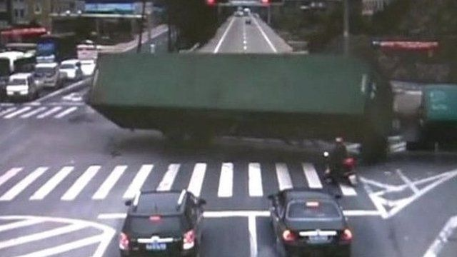 Lorry topples over