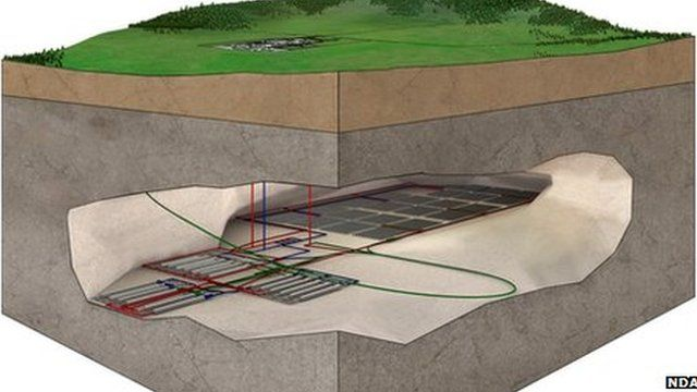 Radioactive waste can be stored in underground vaults at a depth of between 200m (656ft) and 1,000m (3,280ft)