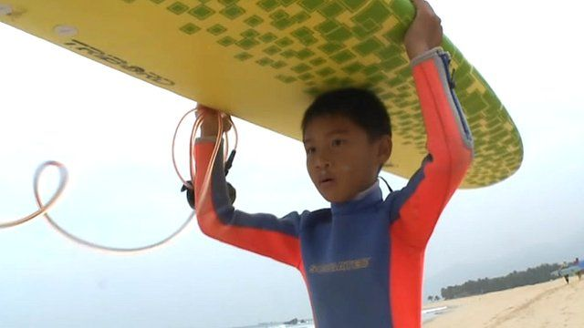 A surfer in China