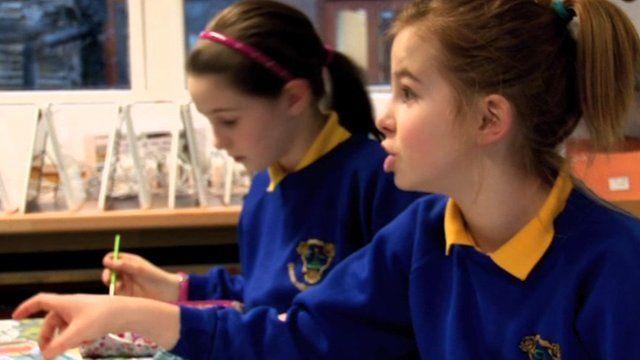 Children learning Manx