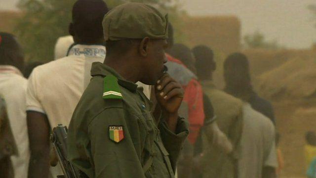 Malian men in military training