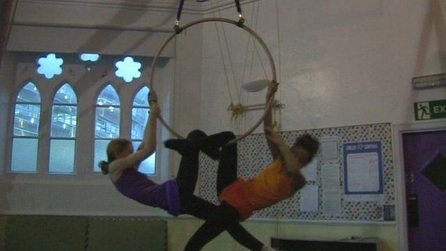 Circus training at Christ Church in Shieldfield