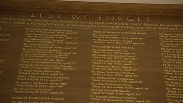 Memorial to police officers who have lost their lives in the West Midlands