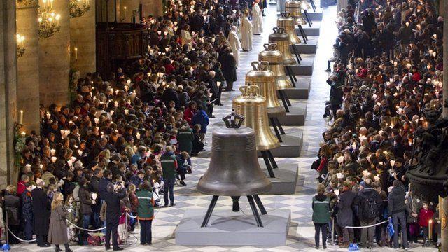 Eight new bronze bells of Notre-Dame de Paris Cathedral
