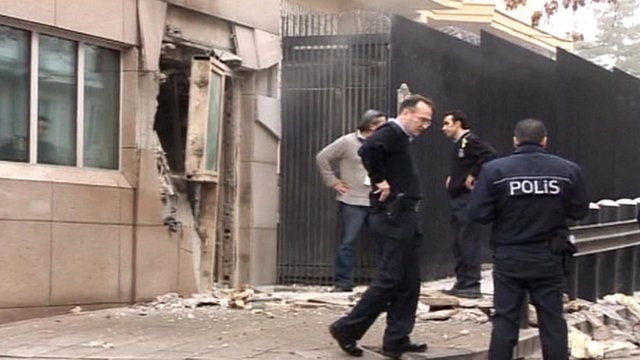 Police by explosion site