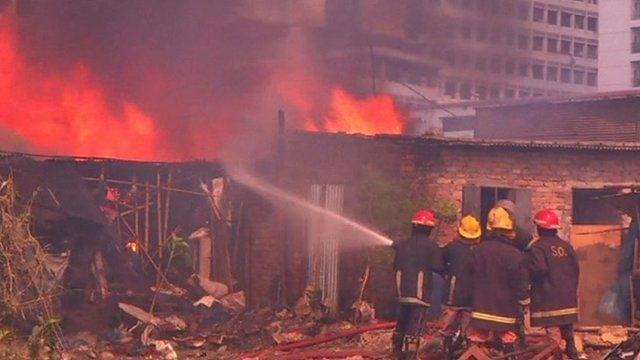 Fire-fighters tackling blaze