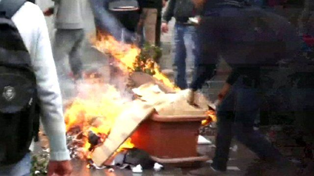 Fire on the street in Tunisia