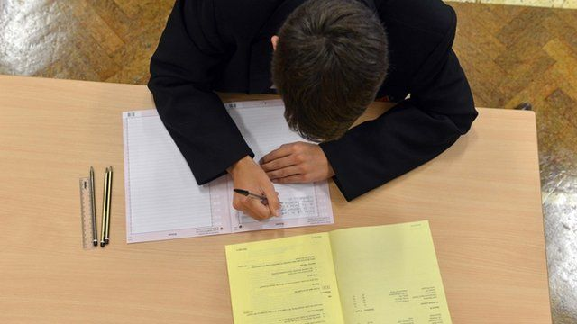 Pupil taking GCSE exam