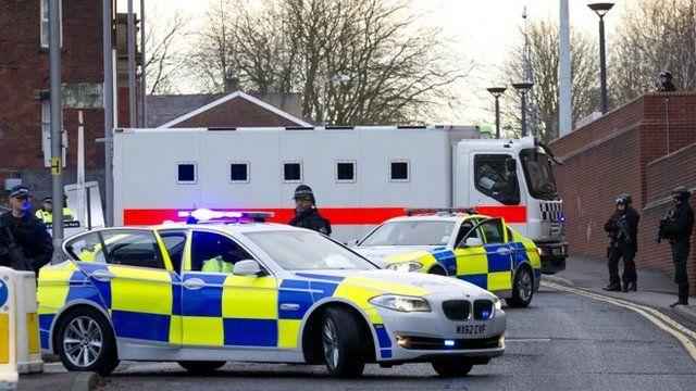 Police van arrives at Preston Crown Court