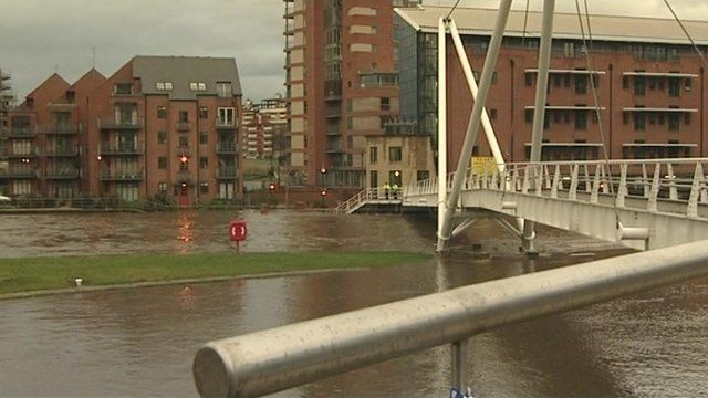 The River Aire in the middle of Leeds