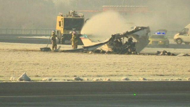 Plane wreckage at Charleroi airport