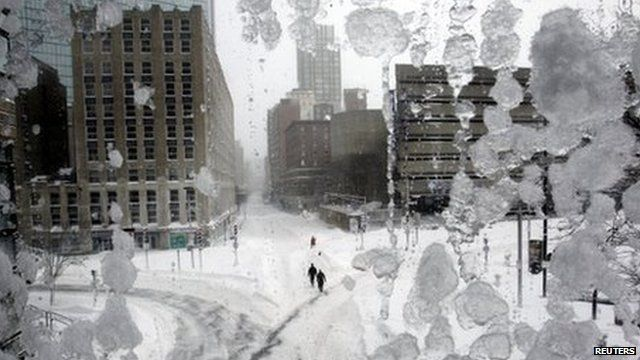Snow covered streets in Copley Square during a blizzard in Boston, Massachusetts