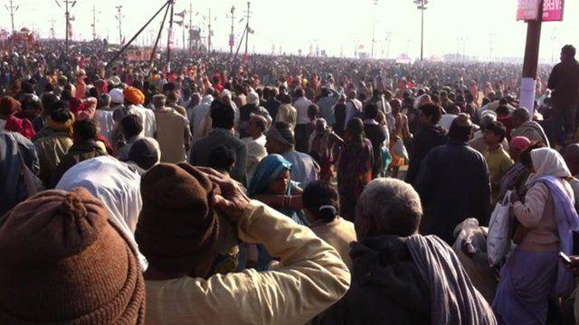 Crowds gathering on the most auspicious day of bathing at India's Kumbh Mela pilgrimage.
