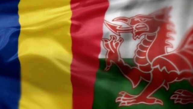 Flags of Romania and Wales
