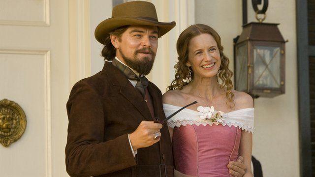 Leonardo DiCaprio and Laura Cayouette star in Django Unchained.