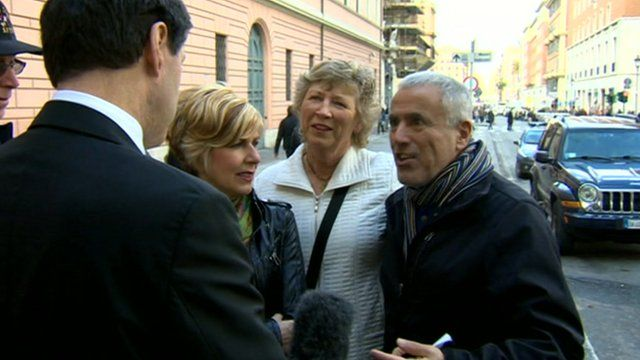Tourists with the BBC's Jon Sopel outside the Vatican
