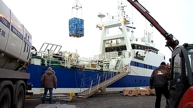 Harbour activity in Iceland