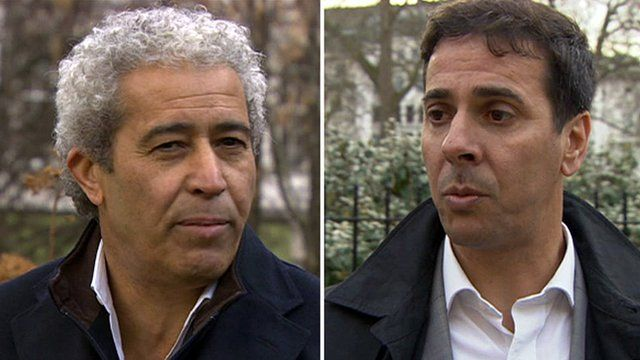 Montage image of two British Libyans injured outside the embassy in London in 1984 - Mahmoud Alagori (L) and Adel Mansouri (R)
