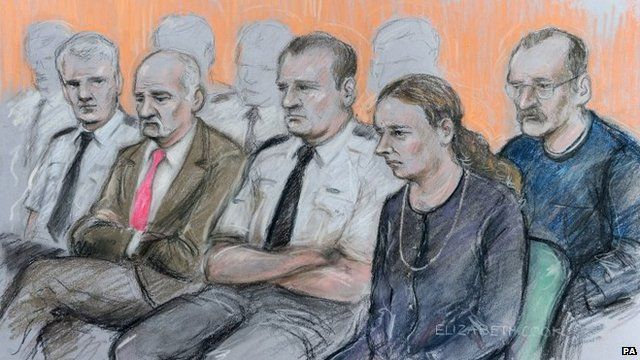 Court drawing of defendants