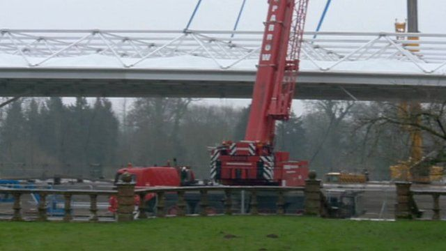 The new roof being lifted on to temporary accommodation at Lytchett Minster Upper School