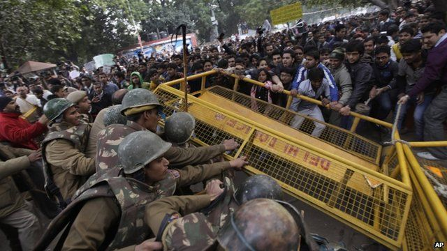 Protesters confront police after the death of a gang rape victim in India. Dec. 30, 2012