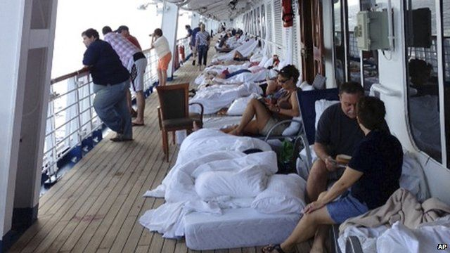 Passengers sleeping on the deck of the Carnival Cruise Ship