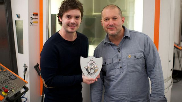 Blue Peter Presenter Barney Harwood and Sir Jonathan Ive