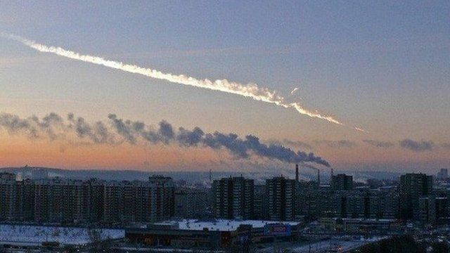 The trace of a meteor over Russia