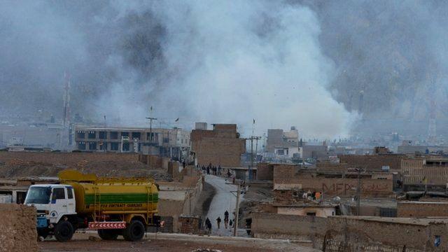 Smoke rises following a bomb explosion in Quetta, Pakistan