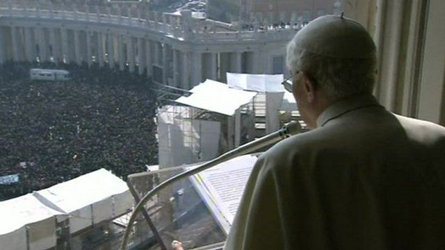 Pope Benedict delivering the blessing to thousands of pilgrims