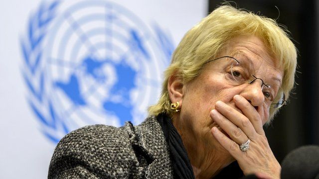 Carla del Ponte looks on during a press conference in Geneva.