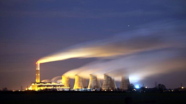 Cooling towers at a power station