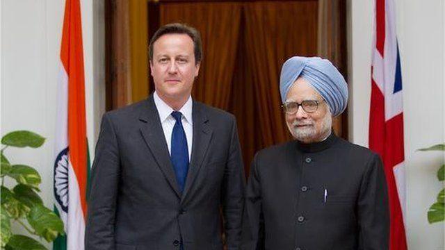 David Cameron with Indian prime minister Manmohan Singh