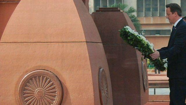 David Cameron laying wreath