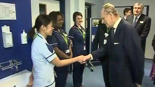 Duke of Edinburgh meets nurse