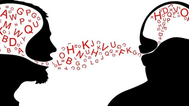 Two heads in profile with dialogue