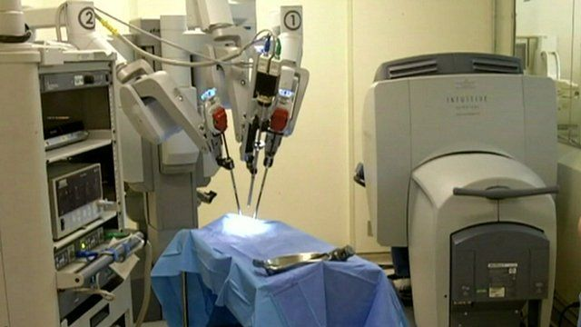 A microsurgical robot in a Sao Paolo hospital