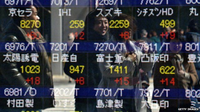 Tokyo stock exchange numbers on screen
