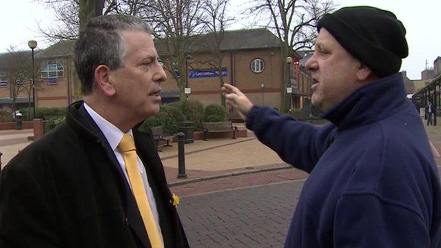Liberal Democrat candidate Mike Thornton and a local voter