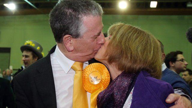 Mike Thornton celebrates with his wife Peta