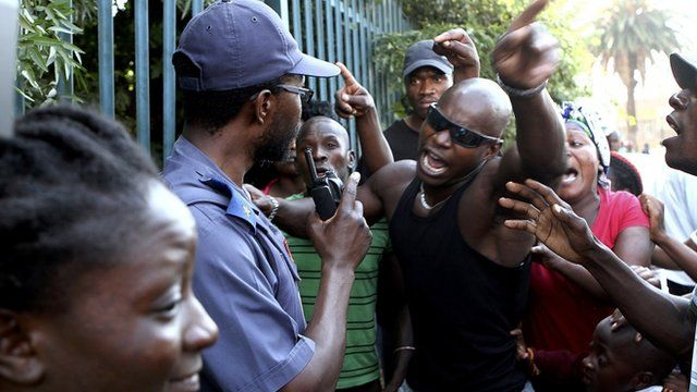 Protesters outside Daveyton police station, east of Johannesburg