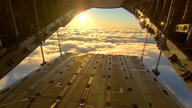 View looking out of the A400M Atlas transport aircraft